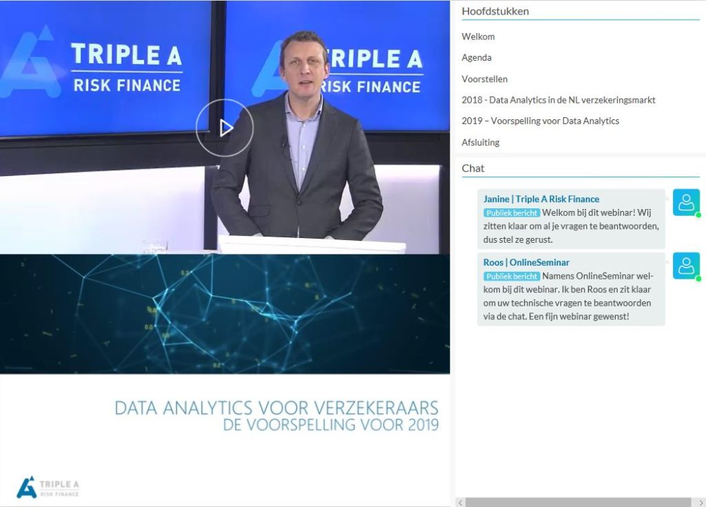 Webinar Data Analytics voor verzekeraars door Hylke Niermeijer van Triple A - Risk Finance